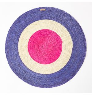Triple Stripe Round Woven Placemat in Blue, Natural & Pink