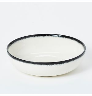 Cereal Bowl in Off White & Black 15.5cm