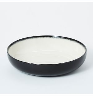 Pasta Bowl in Off White & Black 18.5cm