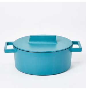 Terra.Cotto Oval Casserole Pot With Lid in Anise