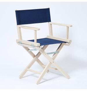 Director's Chair in Navy & White Stained Beech