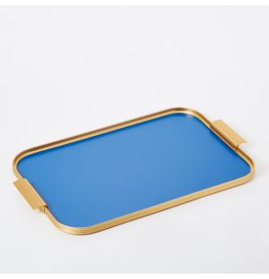 Pressed Handle Tray in Brushed Blue 42cm x 30cm