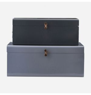 Metal Storage Boxes in Blue & Light Blue Set of 2