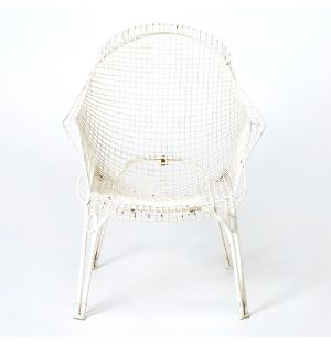 Vintage Wired Metal Garden Armchair in White