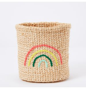 Rainbow Embroidered Sisal Basket