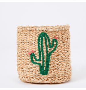 Cactus Embroidered Sisal Basket
