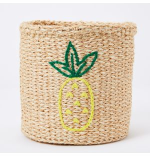 Pineapple Embroidered Sisal Basket