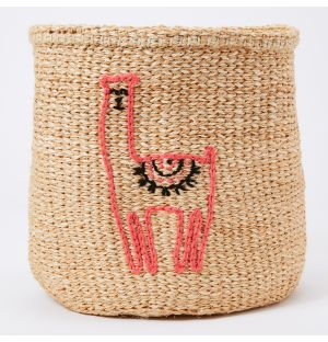 Llama Embroidered Sisal Basket