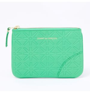 Colour Embossed B Coin Purse in Green