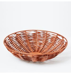 Large Woven Leather Bowl in Whisky
