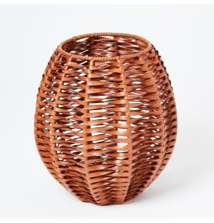Woven Leather Vase in Whisky