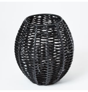 Woven Leather Vase in Black