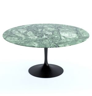 Tulip Round Table in Verdi Alpi Satin Finish Marble & Black Base 152cm