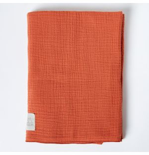 Cotton Muslin Blanket in Rust