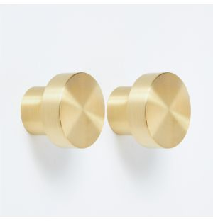 Hobson Knob in Brass Set of 2