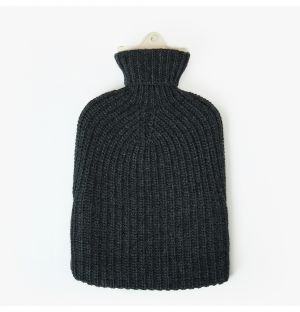 Cashmere Luxe Ribbed Hot Water Bottle in Carbon