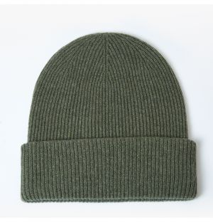 Exclusive Ribbed Cashmere Beanie in Lotus