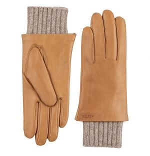 Megan Ribbed Leather Gloves in Cork