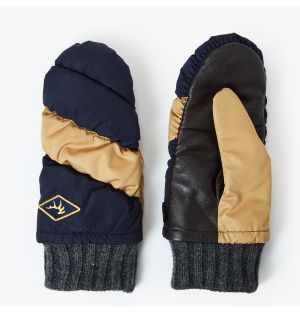 Quilted Mitten in Navy & Camel
