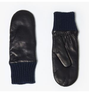 Women's Tina Leather Mittens in Navy