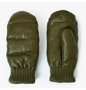 Valdres Leather Mittens in Loden