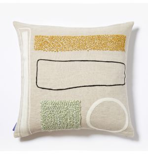Shin Multi Embroidered Cushion Cover in Natural 45cm x 45cm