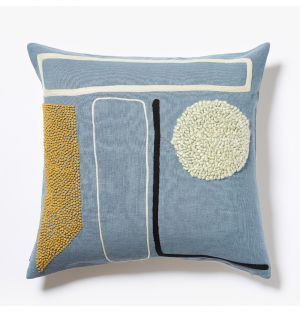 Shin Multi Embroidered Cushion Cover in Blue 45cm x 45cm