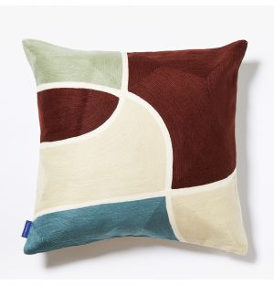 Yoro Crewel Embroidered Cushion Cover in Red Mix 45cm x 45cm