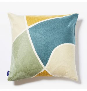 Yoro Crewel Embroidered Cushion Cover in Blue Mix 45cm x 45cm