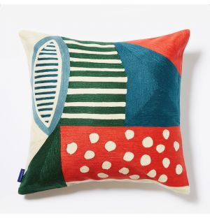 Pico Crewel Embroidered Cushion Cover in Red & Green 45cm x 45cm