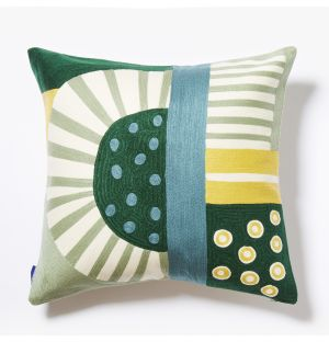 Pico Crewel Embroidered Cushion Cover in Yellow & Green 45cm x 45cm