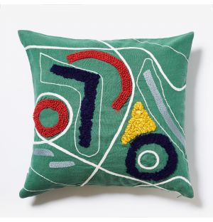Multi Embroidered Cushion Cover in Emerald 45cm x 45cm