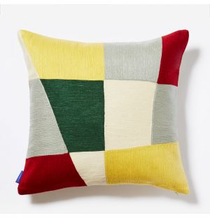 Haus Crewel Embroidered Cushion Cover in Yellow & Red 45cm x 45cm