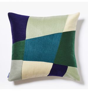 Haus Crewel Embroidered Cushion Cover in Green & Blue 45cm x 45cm