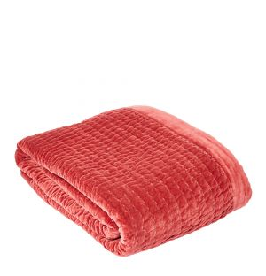 Kantha Velvet Quilted Throw in Pink