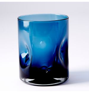 Dimpled Glass in Charcoal & Blue