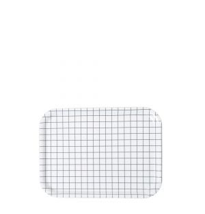 Small Check Rectangular Tray in White
