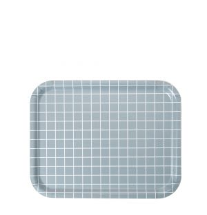 Medium Check Rectangular Tray in Grey