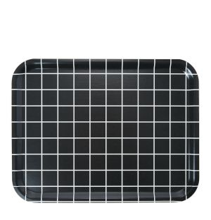 Large Check Rectangular Tray in Black