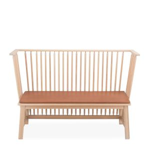 451 Two Seater Low Settle in Danish Oiled Oak with Leather Seat Pad