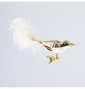 Feather Bird Christmas Tree Decoration in Gold
