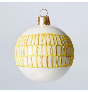 Grid Check Christmas Tree Decoration in Gold
