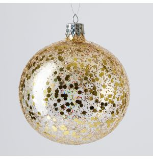 Crystal Ice Globe Christmas Tree Decoration in Gold