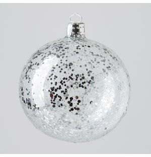 Crystal Ice Globe Christmas Tree Decoration in Silver