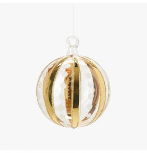 Stripe & Dot Christmas Tree Decoration in Gold & White