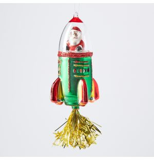 Santa in Rocket Christmas Tree Decoration 16.5cm
