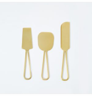 Cheese Knives in Brushed Brass Set of 3