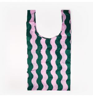 Large Reusable Tote Bag in Pink & Green Wavy Stripe