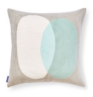 Crestone Crewel Embroidered Cushion Cover in Mint Green 45cm x 45cm