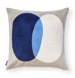 Crestone Crewel Embroidered Cushion Cover in Royal Blue 45cm x 45cm